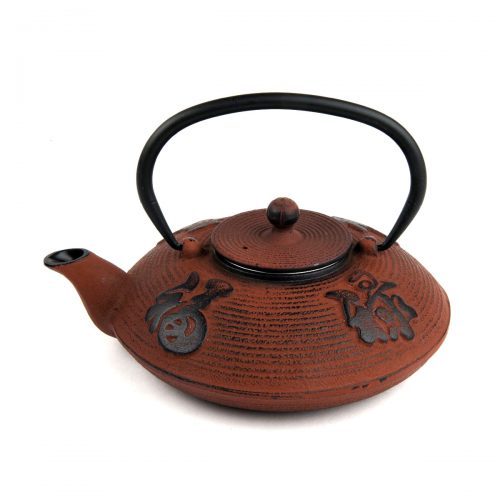 Tetera hierro colado oriental roja